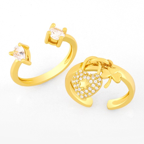 retro simple clover heart-shaped open ring NHAS319619's discount tags