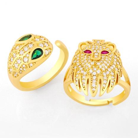 anillo de apertura exagerado con cabeza de león de moda NHAS319621's discount tags