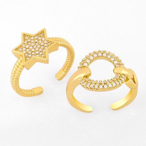 Anillo abierto simple de diamantes NHAS319627's discount tags