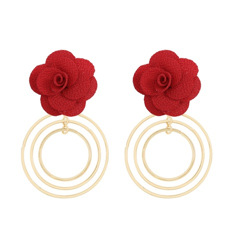 Sweet cloth flower earrings NHJQ319635's discount tags