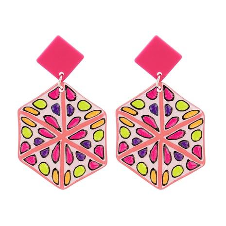 Acrylic Geometric Pink Pendant Earrings NHJJ319640's discount tags