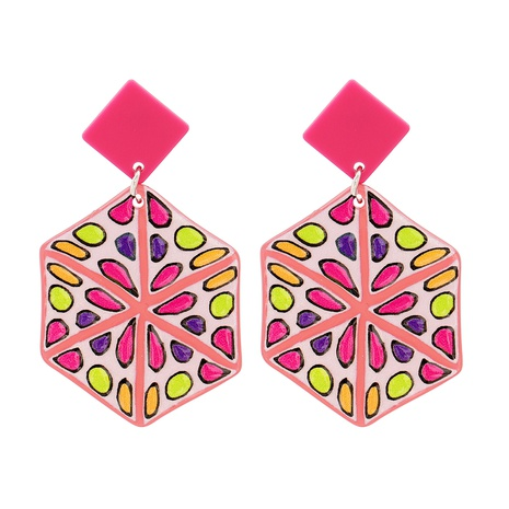 Acrylic Geometric Pink Pendant Earrings NHJJ319640's discount tags