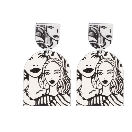 Acrylic Geometric Character Pendant Earrings NHJJ319645's discount tags