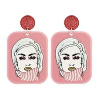 Acrylic Geometric Figure Lady Pendant Earrings NHJJ319647