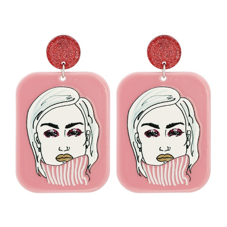 Acrylic Geometric Figure Lady Pendant Earrings NHJJ319647's discount tags