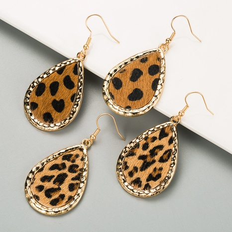 new simple leather leopard print earrings NHLN319661's discount tags