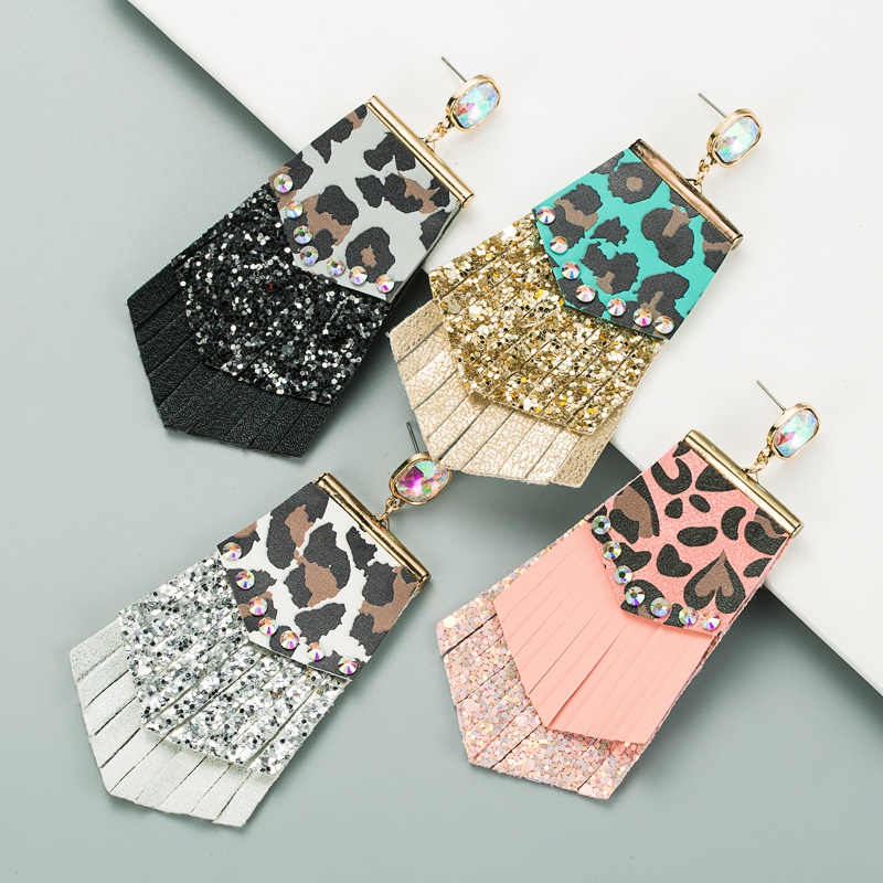 new fashion leather sequined earrings NHLN319662