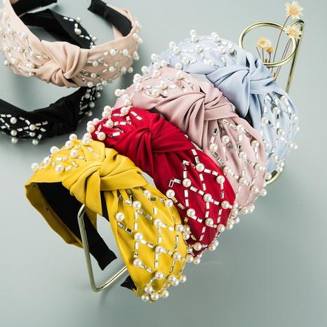 Süßes Perlenkreuz-geknotetes Stirnband der koreanischen Mode NHLN319675's discount tags
