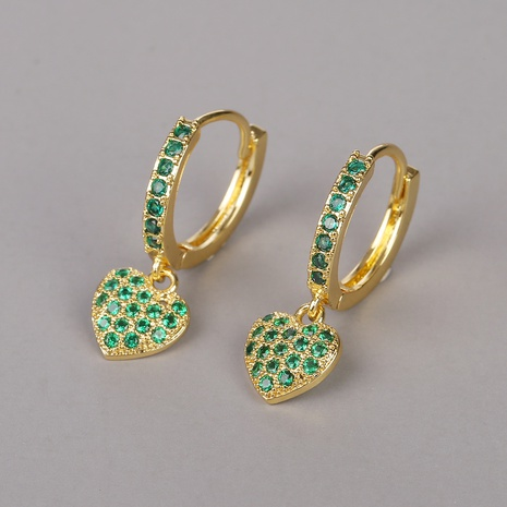 fashion copper-plated green love earrings NHBU319682's discount tags