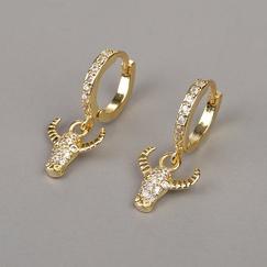 neue Mode Kupfer Diamant Stierkopf Ohrringe NHBU319679