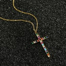 copper microinlaid colorful zircon cross pendant necklace NHBU319686