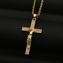 retro Jesus cross pendant copper necklace NHBU319691