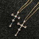 copper microinlaid zircon cross necklace  NHBU319701