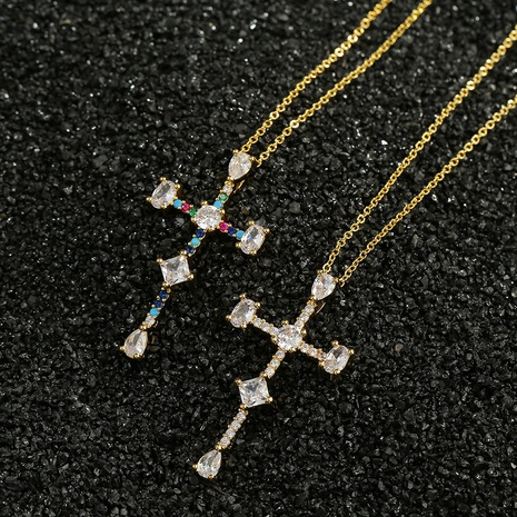 copper micro-inlaid zircon cross necklace  NHBU319701's discount tags