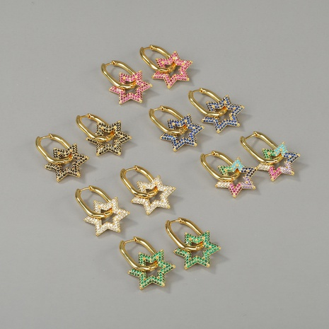 new fashion copper five-pointed star lock earring NHBU319703's discount tags