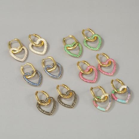 fashion copper micro-inlaid zircon love earrings NHBU319705's discount tags