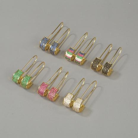 copper inlaid zircon pin earrings NHBU319709's discount tags