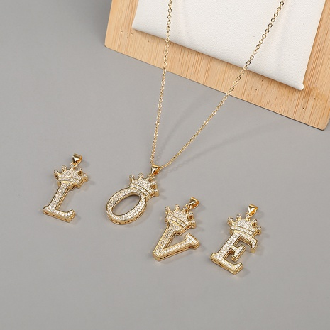 fashion hip hop copper micro-inlaid zircon English letter necklace NHBU319710's discount tags