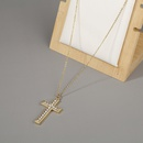 microinlaid zircon cross pendant copper necklace NHBU319728