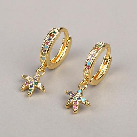 Pendientes de estrella de mar de circón redondo de color de nueva moda NHBU319730's discount tags