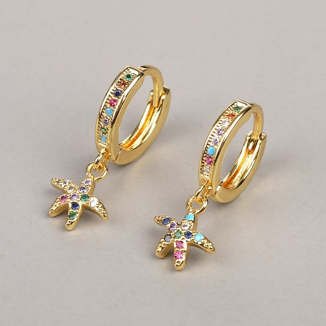 new fashion color round zircon starfish earrings NHBU319730's discount tags