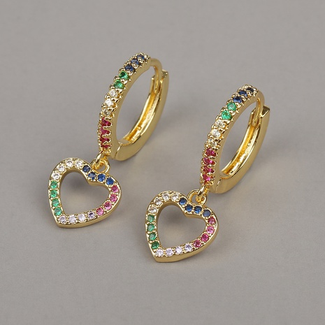 fashion copper Color Diamond Love Earrings NHBU319731's discount tags