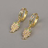 new fashion copper micro-inlaid zircon grape earrings NHBU319734
