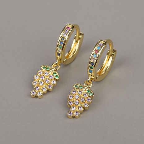 new fashion copper micro-inlaid zircon grape earrings NHBU319734's discount tags