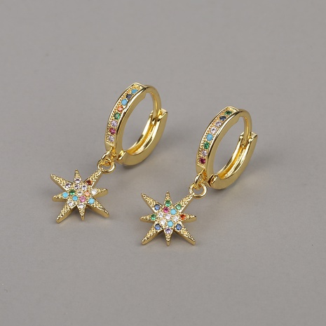 fashion copper micro-inlaid color zircon flower earrings  NHBU319736's discount tags