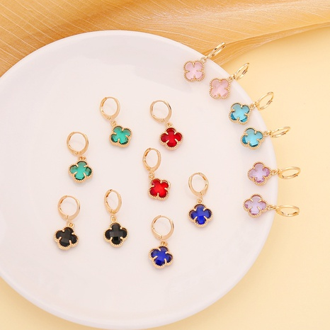 new fashion multi-color clover earrings NHBW319752's discount tags