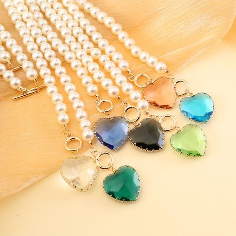 kreative Mode Glas Herz Halskette NHBW319753's discount tags