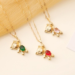 fashion multicolor bear necklace  NHBW319775