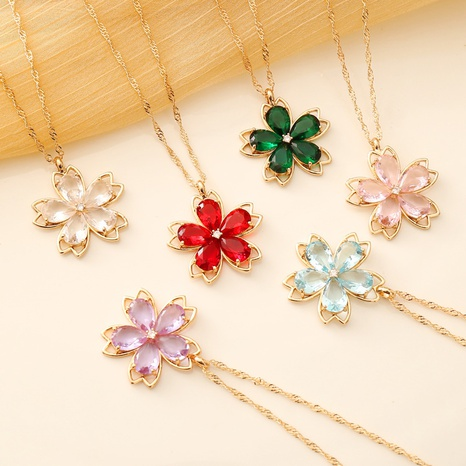 multicolor flower crystal necklace  NHBW319779's discount tags