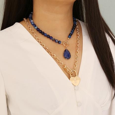 mehrschichtige Halskette aus Natursteinherz NHBW319810's discount tags