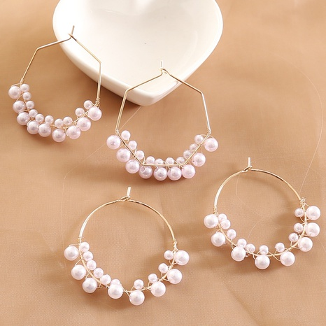 fashion pearl geometric earrings  NHBW319815's discount tags