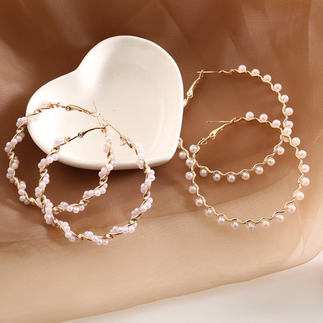 fashion pearl braided earrings NHBW319818's discount tags