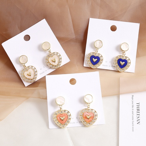 fashion simple multicolor heart earrings  NHBW319823's discount tags