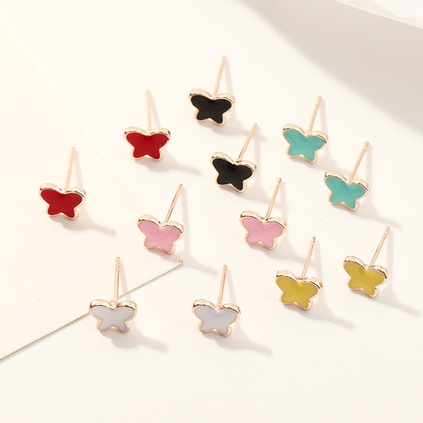 fashion cute candy color alloy dripping butterfly earrings set NHNZ319875's discount tags