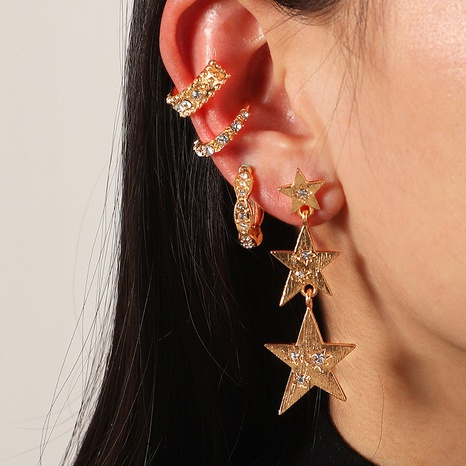 fashion simple diamond five-pointed star earrings set NHNZ319883's discount tags
