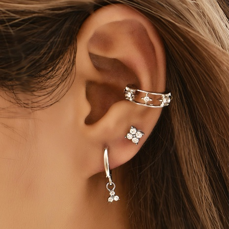 Fashion simple full diamond ear clip set NHAJ320064's discount tags
