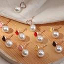 fashion simple love pearls earrings set NHNZ319886