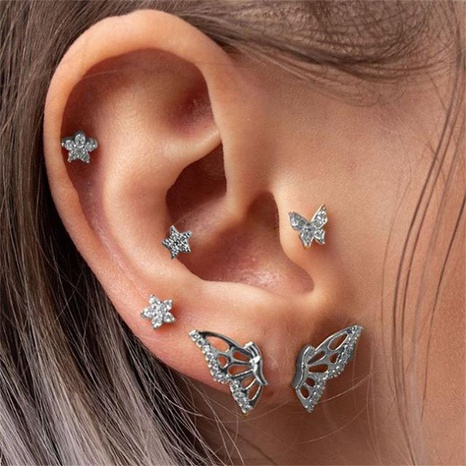 fashion simple diamond-studded butterfly star earrings set NHNZ319887's discount tags