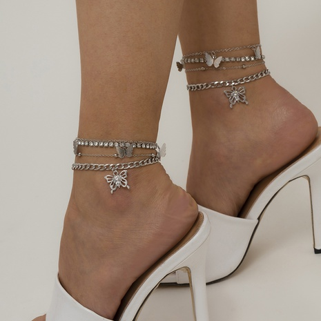 Simple butterfly micro-inlaid diamond multi-layer anklet  NHXR319892's discount tags