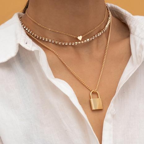 simple diamond multilayer retro lock pendant necklace NHXR319898's discount tags