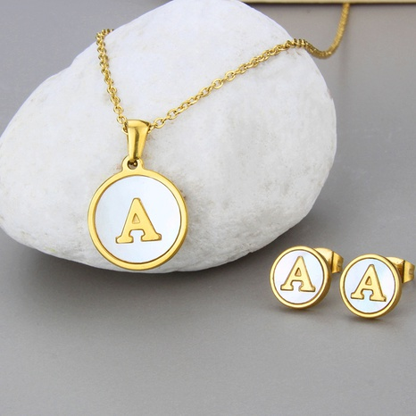 Einfache 26 englische Buchstaben Titan Stahl Halskette Ohrringe Set NHBP319905's discount tags