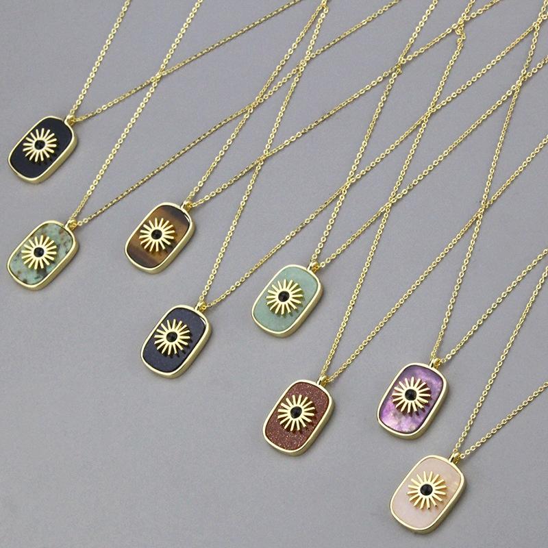 simple square copper pendant flat stone necklace  NHBP319907