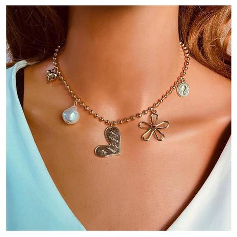 collier à pendentif cœur en alliage de perles de forme spéciale NHCT319920's discount tags