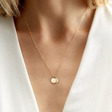 stainless steel round pendant necklace NHTF319928's discount tags