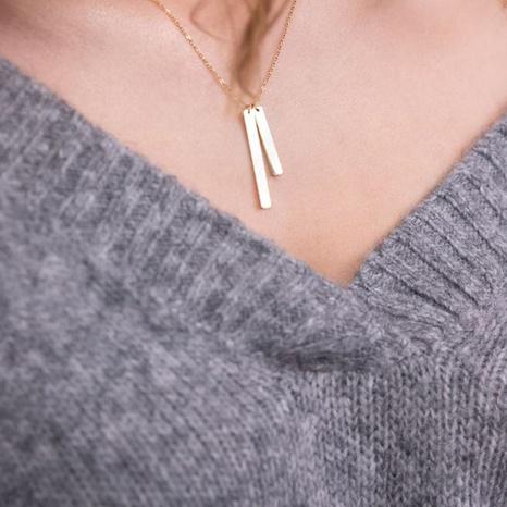 titanium steel geometric rectangular pendant necklace NHTF319932's discount tags