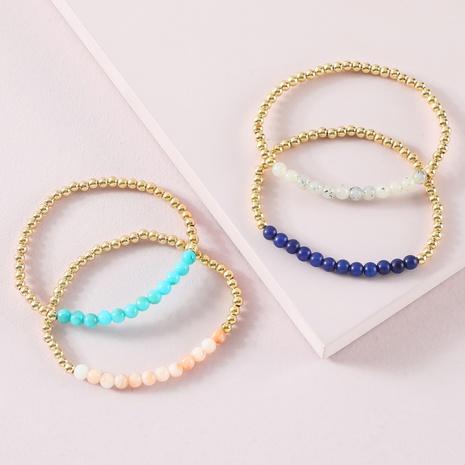 fashion imitated natural stone beaded golden bracelet NHLU319943